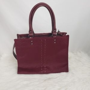 Chico's Oxblood Calfhair Red Leather Satchel